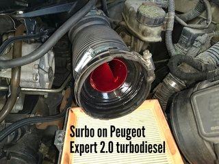 Surbo fitted in the pipe after the air filter of the Peugeot Expert 2.0 turbodiesel